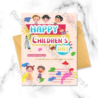 Jour d'enfants Mignon Garçon Jollement Block Pigment Pink Base Carte de voeux Carte de voeux Modèle PSD