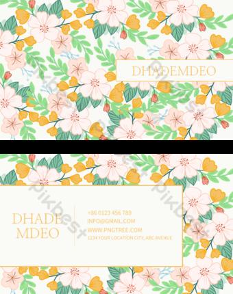 Carte de visite florale de couleur carrelée Modèle PSD