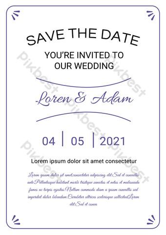 Invitation de fête de fiançailles de ligne simple blanche Modèle PSD