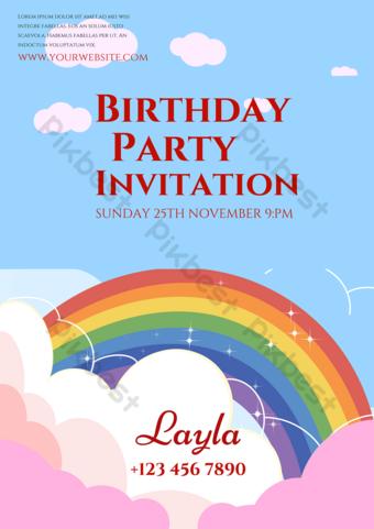 Invitación del arco iris de la nube del cielo azul Modelo PSD