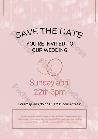 Invitation de fête de fiançailles de ligne simples rose Modèle PSD