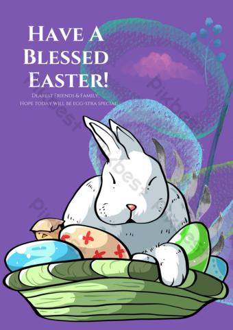 Fond violet carte de voeux de lapin de Pâques Modèle PSD