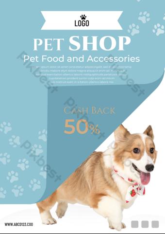 Blue Pet Shop Promotion Advertising Flyer Template PSD