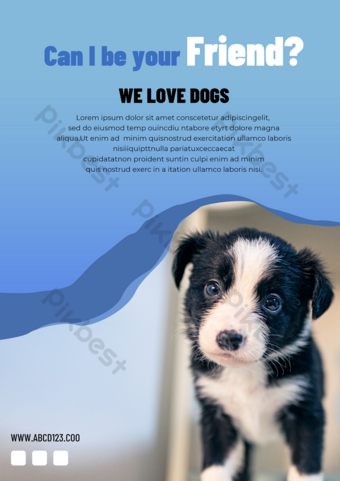 Pet shop adoption dog propaganda advertising Template PSD