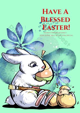 Carte de voeux de lapin de fond vert Modèle PSD