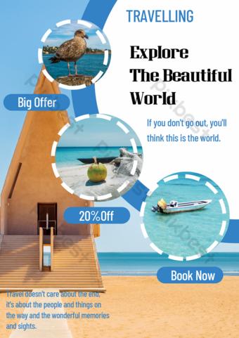 Blue sea beach travel discount publicity poster Template PSD