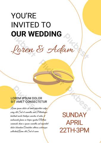 Invitation de fête de fiançailles en ligne simple jaune Modèle PSD