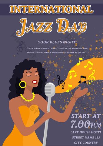音樂家音符紫色卡通國際爵士音樂日表演海報 模板 PSD