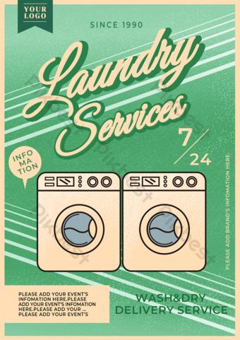 Vintage Style Laundry Service Promotion Flyer Template PSD