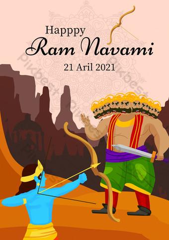 Cartel del festival de Rama Retro Minimalista Retro India Rama Modelo PSD