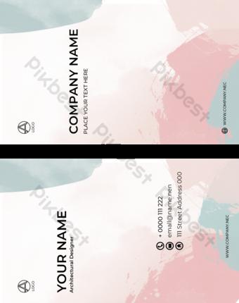 Aquarelle Top Company Carte de visite Double face Modèle PSD