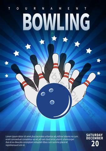 Modèle de dépliant des mouvements de bowling effet Modèle PSD