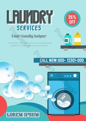 Laundry service leaflet blue cartoon washing machine Template PSD