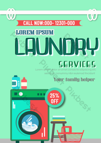 Laundry service leaflet two-color washing machine cleaner Template PSD