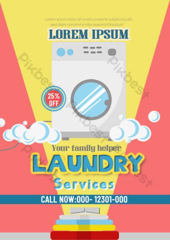 Laundry service leaflet white washing machine bubble Template PSD