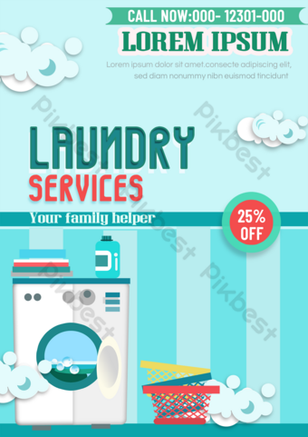 Laundry service promotional single white gray washing machine color clothing box Template PSD