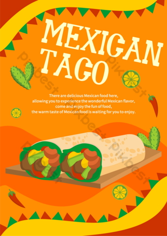 Orange red mexican food template Template AI