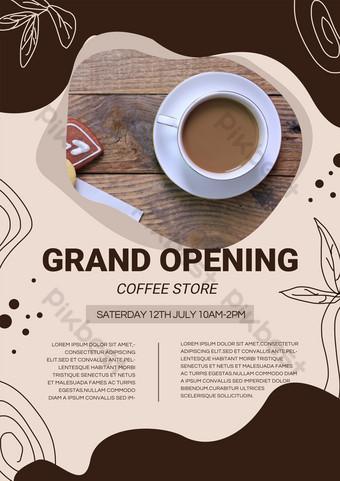 Dark Doodle Café Nouveau produit Modèle de dépliant de promotion d'ouverture Modèle PSD