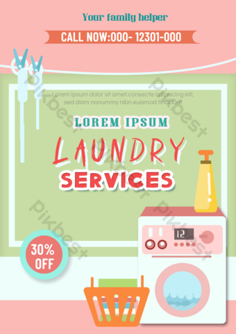 Laundry service leaflet pink washing machine detergent Template PSD