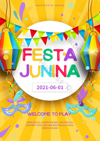 Yellow Brazil St. John Festival Party Poster Template PSD