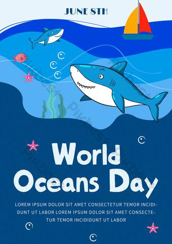 Cartoon cute fun blue world ocean day poster Template PSD