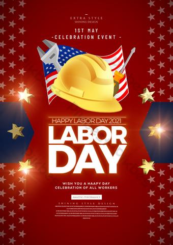 Minimalista Moda Americana Dia do Trabalhador Festival Poster Modelo PSD