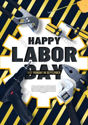 kỷ niệm ngày lao động hạnh phúc poster Bản mẫu PSD