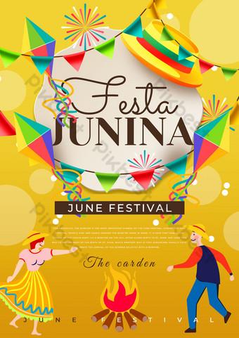 Yellow Brazil June poster Template PSD