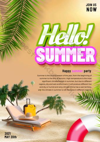 Modelo de festa de verão de praia fluorescente Modelo PSD