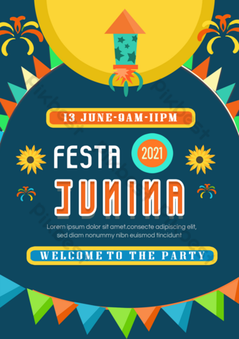 Brazil June Propaganda Poster Celebration with Fiber Template PSD