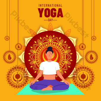 yellow world yoga day event template Template PSD