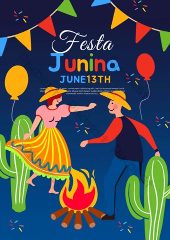 Color cartoon Brazil June Celebration Poster Template PSD