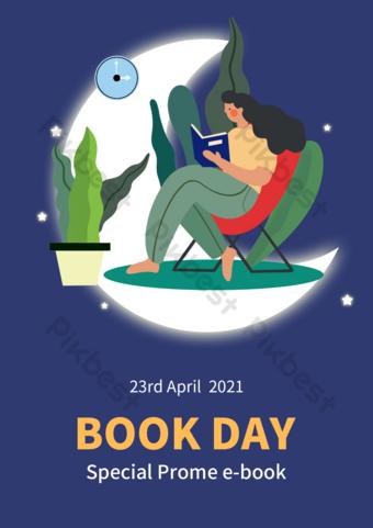 Flyer de jour de promotion de la journée du livre mondial Modèle PSD
