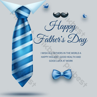 Blue Tie Father Day poster activity template Template PSD