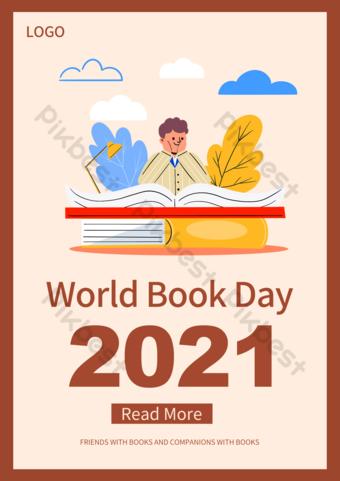 Flyer de promotion de la journée internationale du livre du livre Modèle PSD