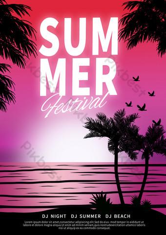 Summer seaside landscape poster Template PSD