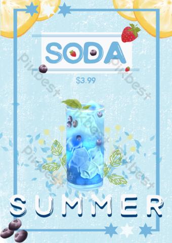 Blueberry Soda Aquarelle Flyer Modèle PSD