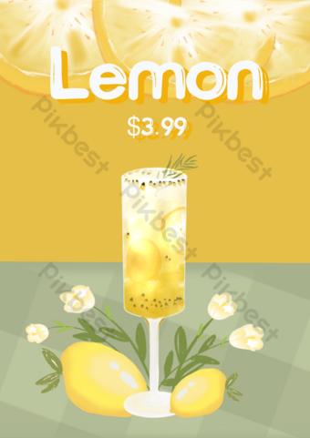 الليمون عاطفي الصودا لون المياه نشرة قالب PSD