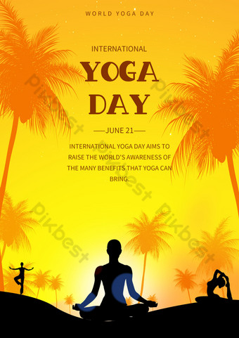 yellow gradient international yoga day poster template Template PSD