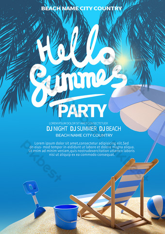 Cartel de fiesta de playa de playa azul Modelo PSD