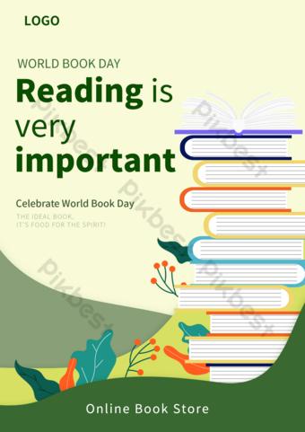 綠色插圖世界閱讀日和版權日飛行物 模板 PSD