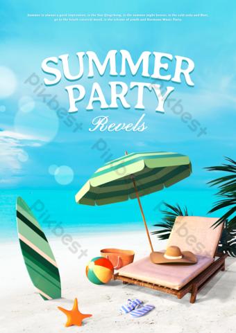 Plantilla de fiesta de playa de verano Modelo PSD