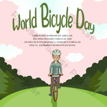世界自行車日社交媒體騎自行車 模板 PSD