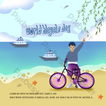 大海海灘世界自行車日社交媒體 模板 PSD