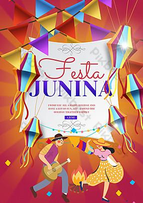 Red Brazil St. John Festival Poster Activity Template PSD