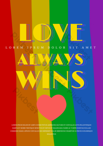 Simple love rainbow gay pride poster promotional template Template PSD