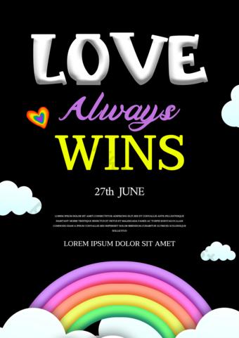 الأسود الحب قوس قزح مثلي الجنس فخر ملصق قوالب الترويج قالب PSD