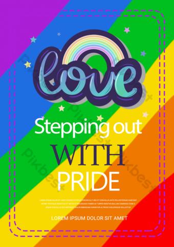 حب بسيط قوس قزح مثلي الجنس فخر ملصق قوالب الترويجية قالب PSD