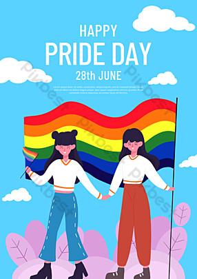 الأزرق فخر يوم مثلي الجنس ملصق قالب PSD