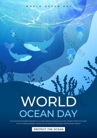 Deep Sea Haizhong World Ocean Day Template PSD